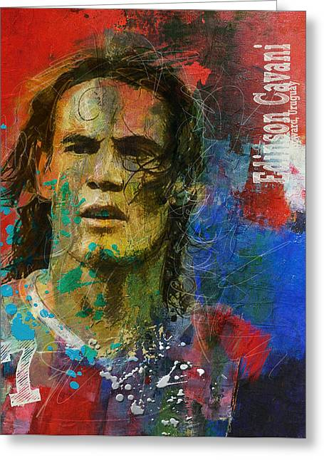 Edinson Cavani Greeting Card by Corporate Art Task Force