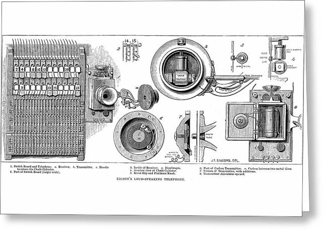 Edison Carbon Telephone Greeting Card by Universal History Archive/uig