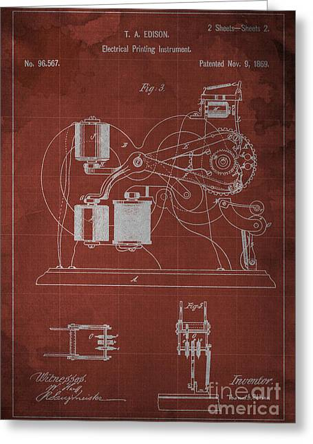 Edison Electrical Printing Instrument Blueprint 2 Greeting Card