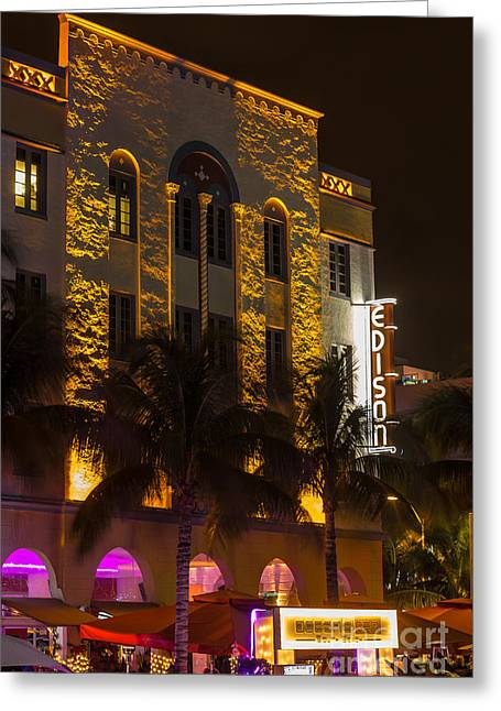 Edison Hotel Sobe Greeting Card by Rene Triay Photography