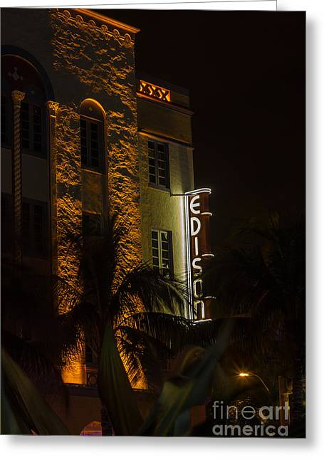 Edison Hotel South Beach Greeting Card by Rene Triay Photography