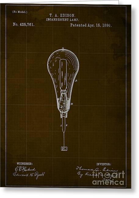 Edison Incandescent Lamp Patent Blueprint Greeting Card