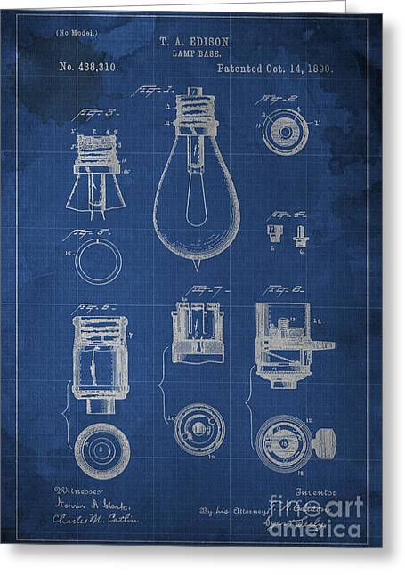 Edison Lamp Base Patent Blueprint Greeting Card