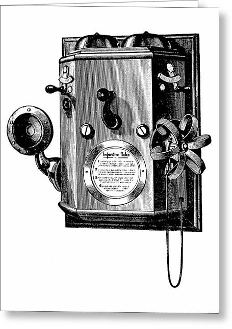 Edison Telephone In A Wall-mounted Box Greeting Card by Universal History Archive/uig