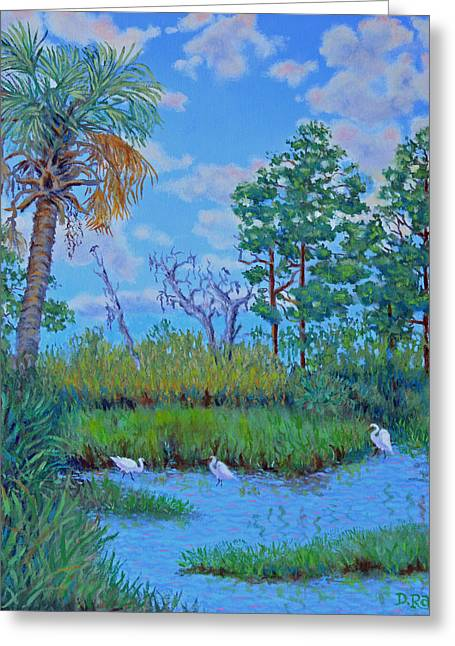 Edisto Egret Hideaway Greeting Card by Dwain Ray