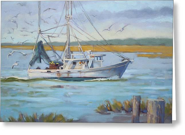 Edisto Shrimp Boat Greeting Card