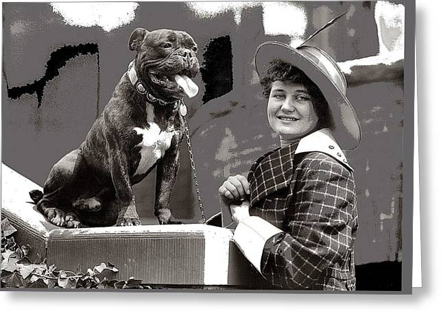 Edith Gracie Dog Show Harris And Ewing Collection Glass Negative Washington D.c. 1915-2014  Greeting Card