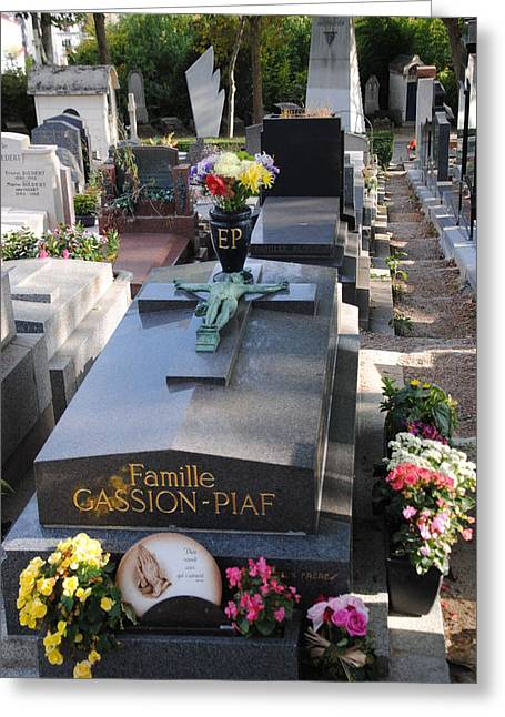 Edith Piaf Gravesite At Pere Lachaise Paris Greeting Card by Jacqueline M Lewis