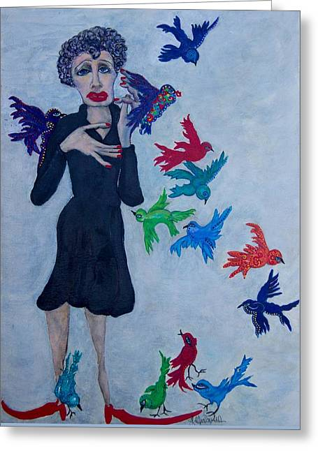 Edith Piaf  The Little Sparrow Greeting Card by Suzanne Macdonald