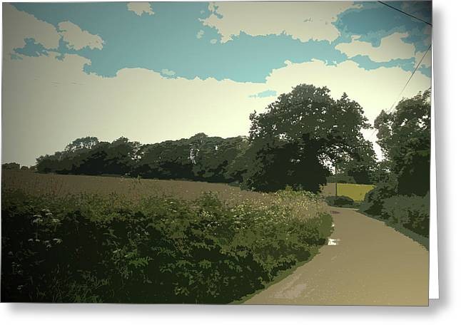 Edlaston Lane, Looking Towards Edlaston Hall From A Road Greeting Card by Litz Collection