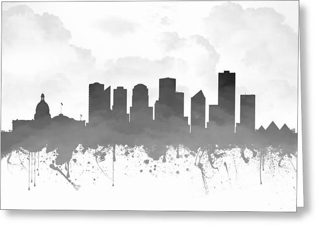 Edmonton Alberta Skyline - Gray 03 Greeting Card by Aged Pixel