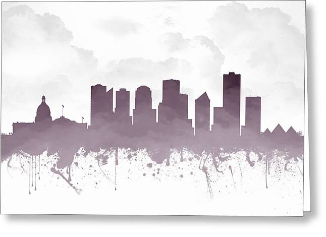 Edmonton Alberta Skyline - Purple 03 Greeting Card by Aged Pixel
