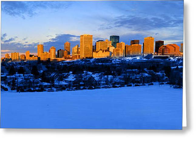 Edmonton Winter Skyline Panorama 1 Greeting Card