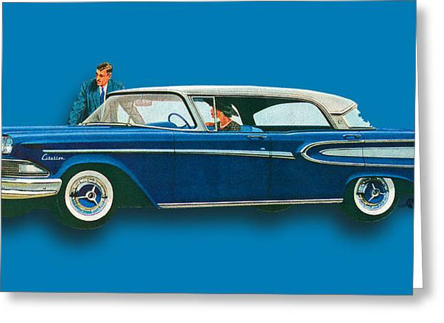 Edsel Citation Car Advertisement Sedan Blue Greeting Card by Tony Rubino