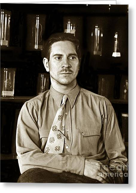 Edward F. Ricketts Nov. 1937 In His Laboratory With Specimens Bottles In Background Monterey  1897 1948 Greeting Card