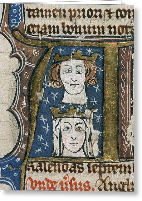 Edward I And Queen Eleanor Greeting Card by British Library