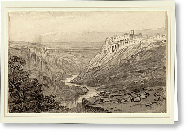 Edward Lear, Goats Resting Above A River Gorge Narni Greeting Card by Litz Collection