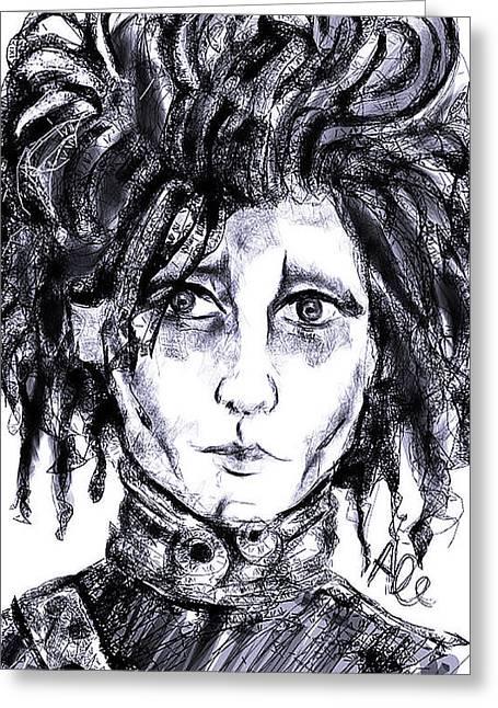 Edward Scissorhands Phone Sketch Greeting Card by Alessandro Della Pietra