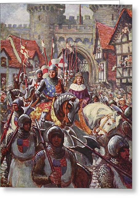 Edward V Rides Into London With Duke Greeting Card by Charles John de Lacy