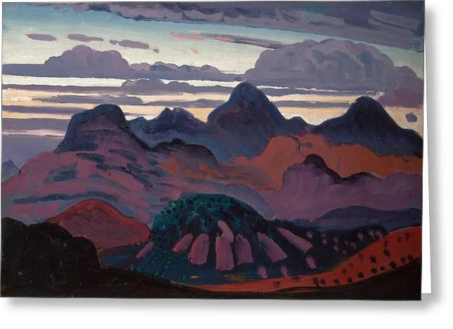 Deep Twilight Pyrenees Greeting Card by James Dickson Innes