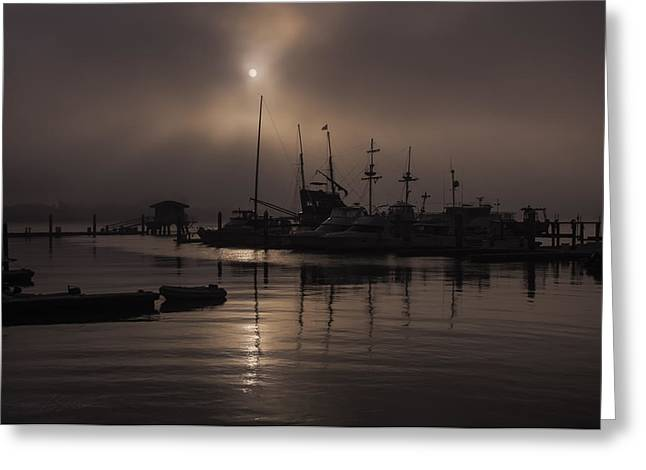 Eerie Morning Fog St. Augustine Marina Greeting Card