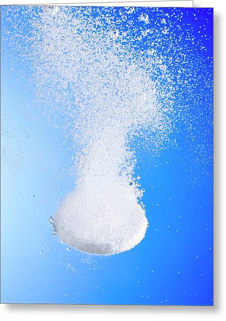 Effervescent Tablet In Water Greeting Card by Science Photo Library