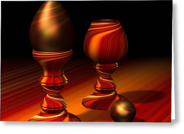 Egg And Swirly Red 2d Greeting Card by Hakon Soreide
