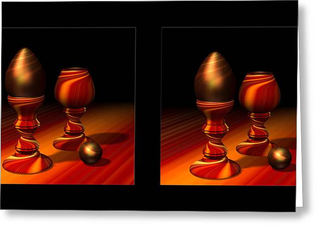 Egg And Swirly Red 3d Greeting Card by Hakon Soreide