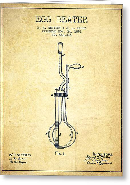 Egg Beater Patent From 1891 - Vintage Greeting Card