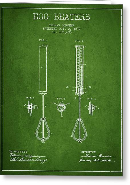 Egg Beaters Patent From 1877 - Green Greeting Card