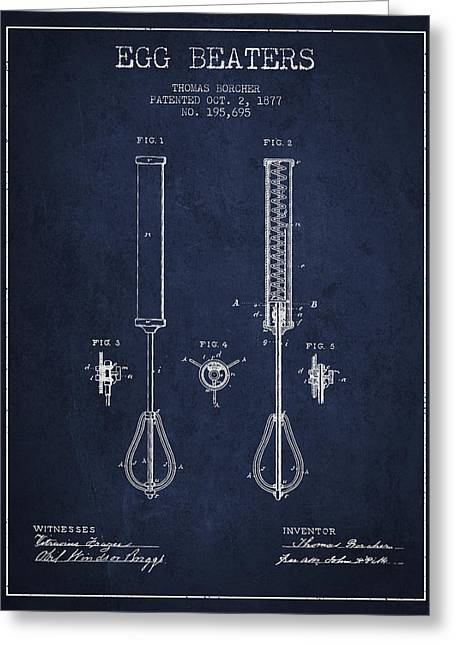 Egg Beaters Patent From 1877 - Navy Blue Greeting Card