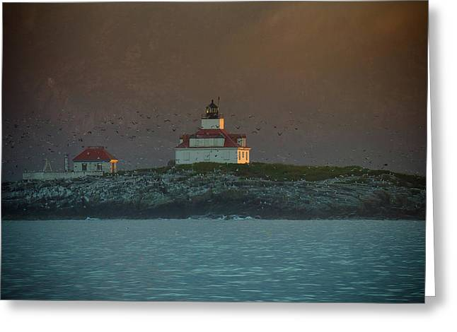 Egg Rock Island Lighthouse Greeting Card by Sebastian Musial