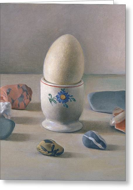 Eggcup Ritual Wc On Paper Greeting Card