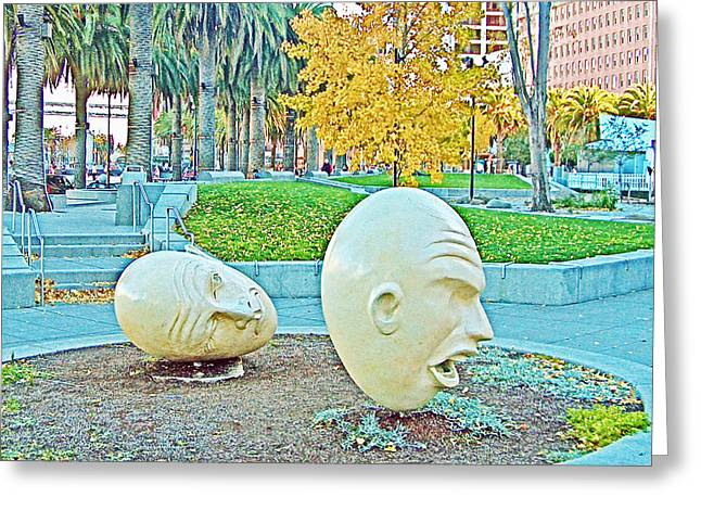 Eggheads In Park Near Embarcadero Towers In San Francisco-california  Greeting Card