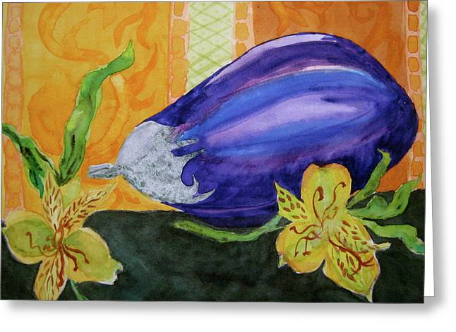 Greeting Card featuring the painting Eggplant And Alstroemeria by Beverley Harper Tinsley