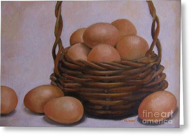 Eggs In A Basket Greeting Card by Karen Olson