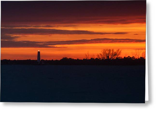 Egmont Key Lighthouse Sunset Greeting Card by Paul Rebmann