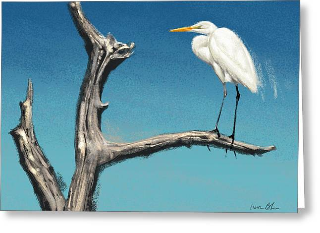 Egret Greeting Card by Aaron Blaise