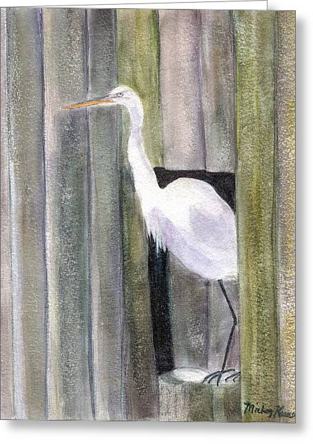 Egret At John's Pass Greeting Card by Mickey Krause