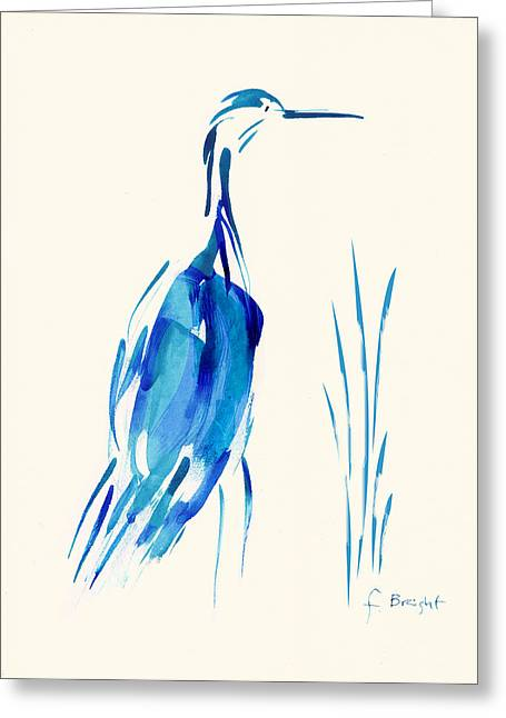 Egret In Blue Mixed Media Greeting Card by Frank Bright
