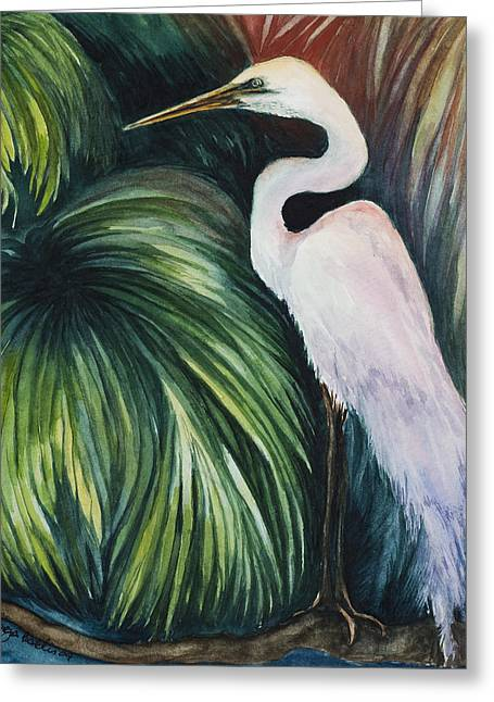 Egret In Palms Greeting Card by Georgia Pistolis