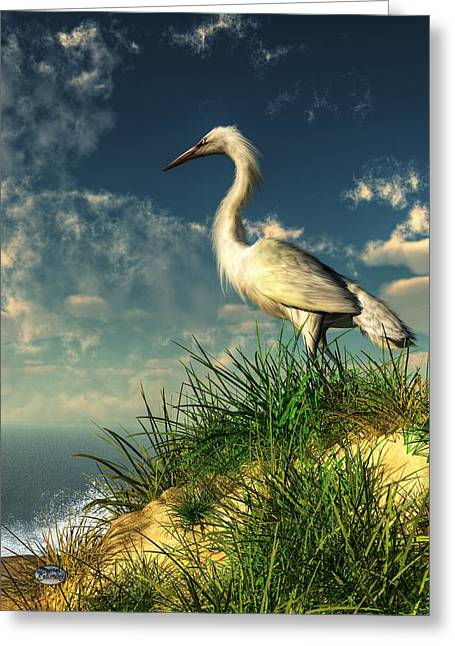 Egret In The Dunes Greeting Card