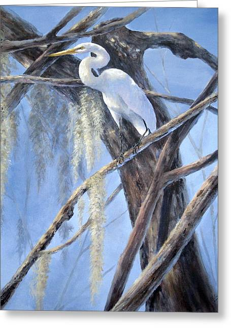 Greeting Card featuring the painting Egret Perch by Mary McCullah