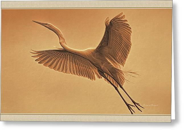 Egret Sepia Greeting Card by Deborah Benoit