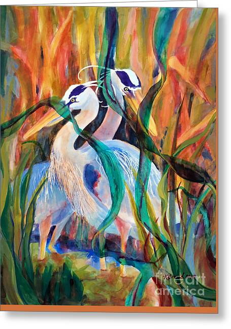 Egrets In Red 2            Greeting Card by Kathy Braud