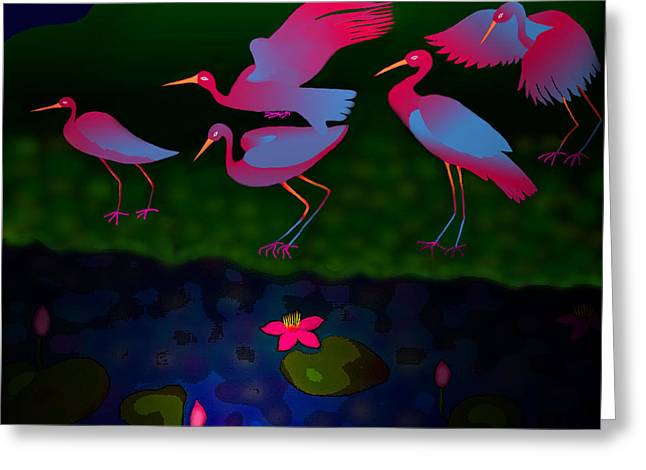 Egrets Greeting Card by Latha Gokuldas Panicker