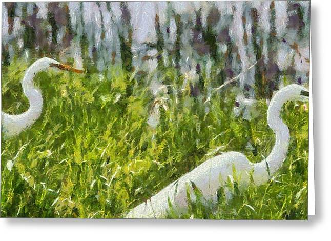 Egrets Painting Greeting Card by Dan Sproul