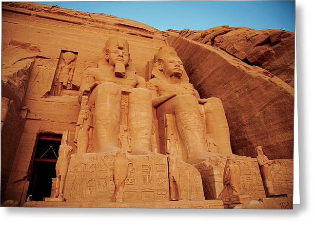 Egypt, Abu Simbel, The Greater Temple Greeting Card by Miva Stock