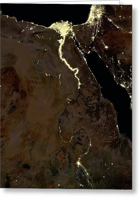 Egypt At Night Greeting Card by Planetobserver