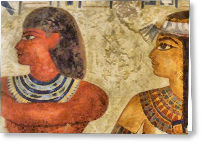 Greeting Card featuring the painting Egypt Pharaohs by Georgi Dimitrov